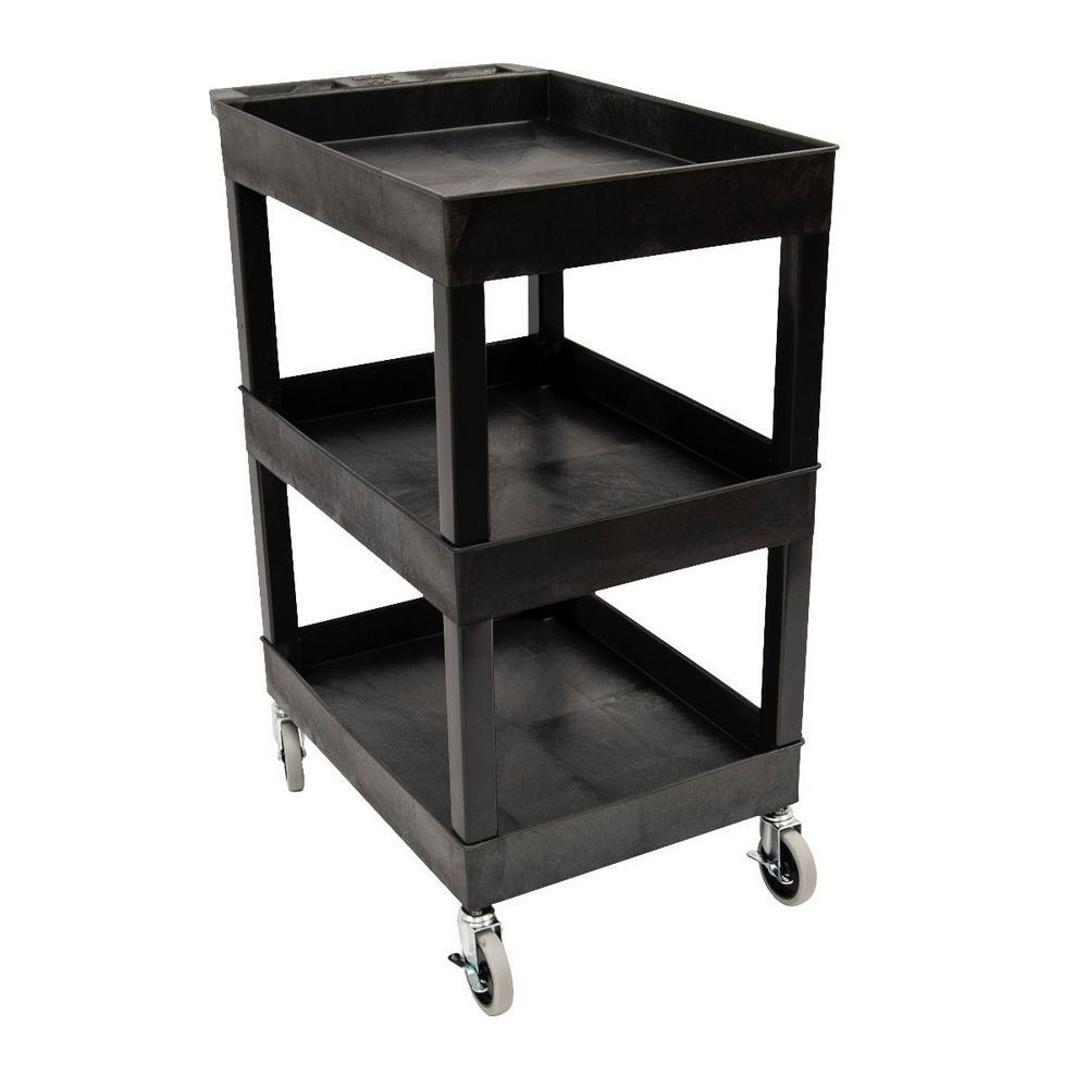 Luxor Sec 3 Shelf Polypropylene Utility Cart Black Sec111 B The Home Depot