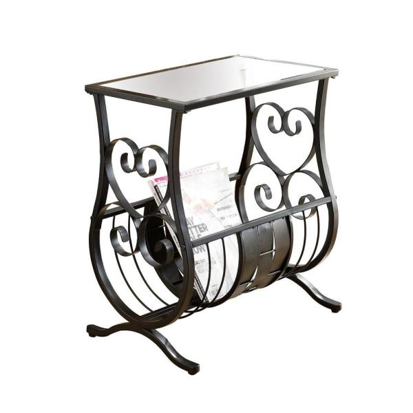 Jasmine 21.75 in. Black and Clear Metal End Table