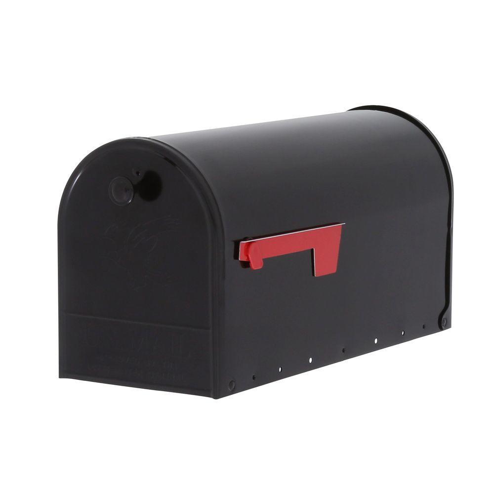 Elite Plus Double Door Steel Post-Mount Mailbox with Rear Access Door in Black