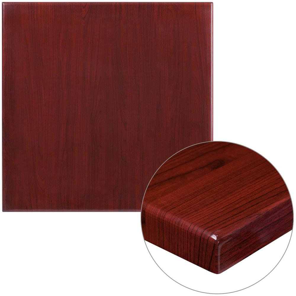 30 in. Square High-Gloss Mahogany Resin Table Top with 2 in.
