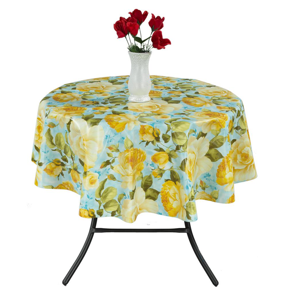 Round Indoor And Outdoor Yellow Rose Design Tablecloth For Dining Table