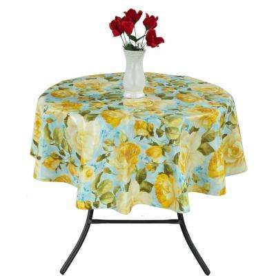 55 in. Round Indoor and Outdoor Yellow Rose Design Tablecloth for Dining Table