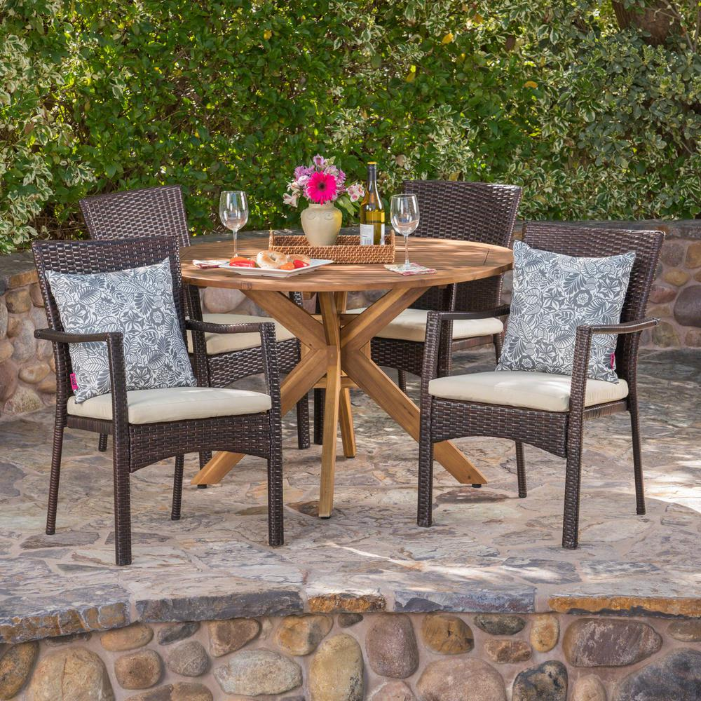 Le House Hugo 5 Piece Wood And Wicker Circular Outdoor Dining Set With Crme Cushion