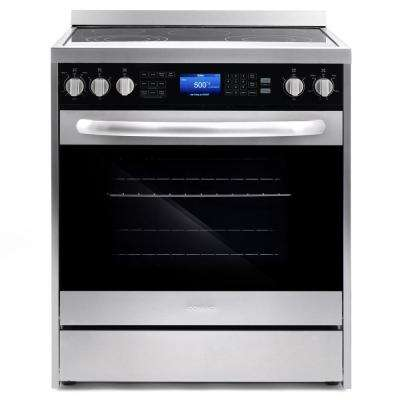 Commercial-Style 30 in. 5 cu. ft. 5 Burner Electric Range with Self-Cleaning Convection Oven in Stainless Steel