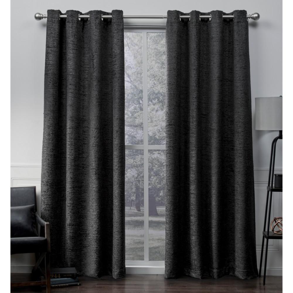 Criss Cross Black Pearl Eyelash Chenille Grommet Top Window Curtain