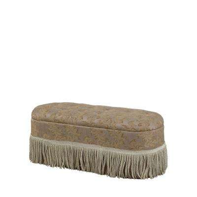 Beige Tufted Barocco Floral Storage Bench