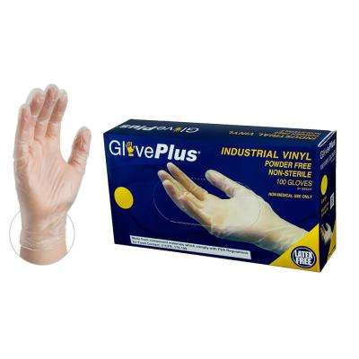 Large 4 mm GlovePlus Clear Vinyl Industrial Powder Free Disposable Gloves (100-Box)