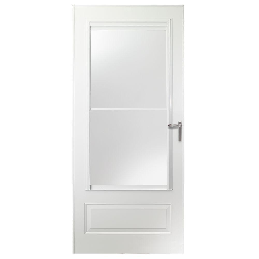 36 in. x 80 in. 300 Series White Universal Self-Storing Aluminum Storm Door with Nickel Hardware