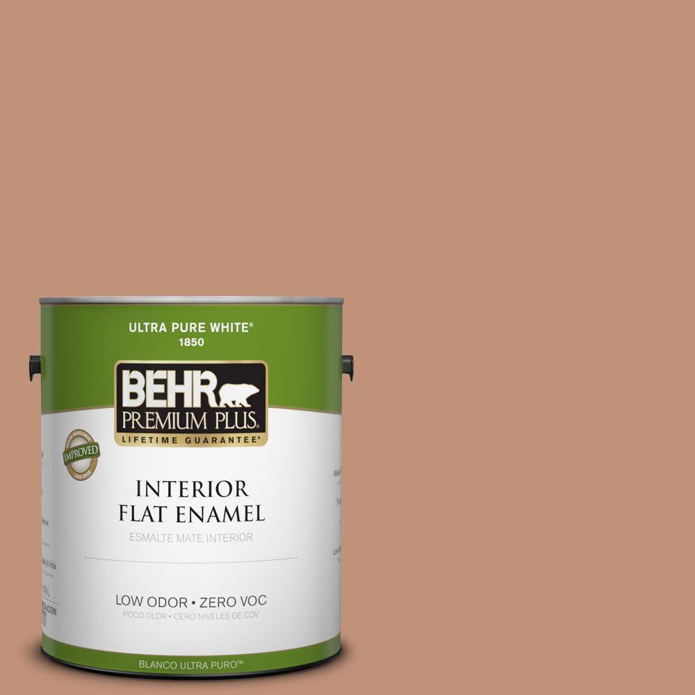 BEHR Premium Plus 1-gal. #ICC-101 Florentine Clay Zero VOC Flat Enamel Interior Paint-DISCONTINUED