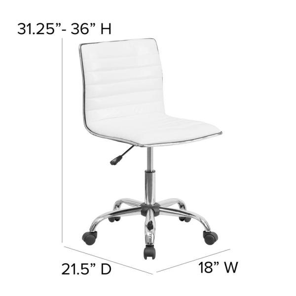 Flash Furniture Low Back Armless White Ribbed Designer Swivel Task Chair Ds512bwh The Home Depot