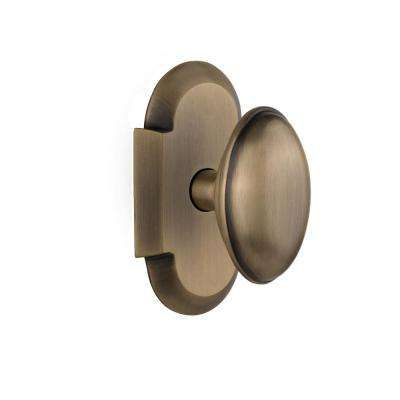 Cottage Plate 2-3/8 in. Backset Antique Brass Privacy Bed/Bath Homestead Door Knob