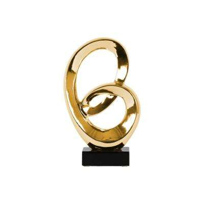 16.5 in. H Abstract Decorative Sculpture in Gold Polished Chrome Finish