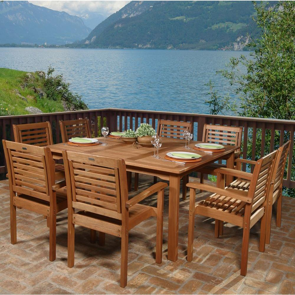Amazonia livorno 9 piece square eucalyptus wood patio for Outdoor dining room sets