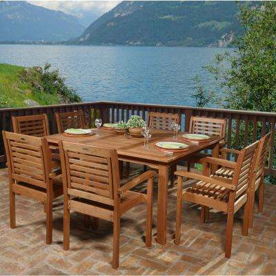 Livorno 9-Piece Square Eucalyptus Wood Patio Dining Set