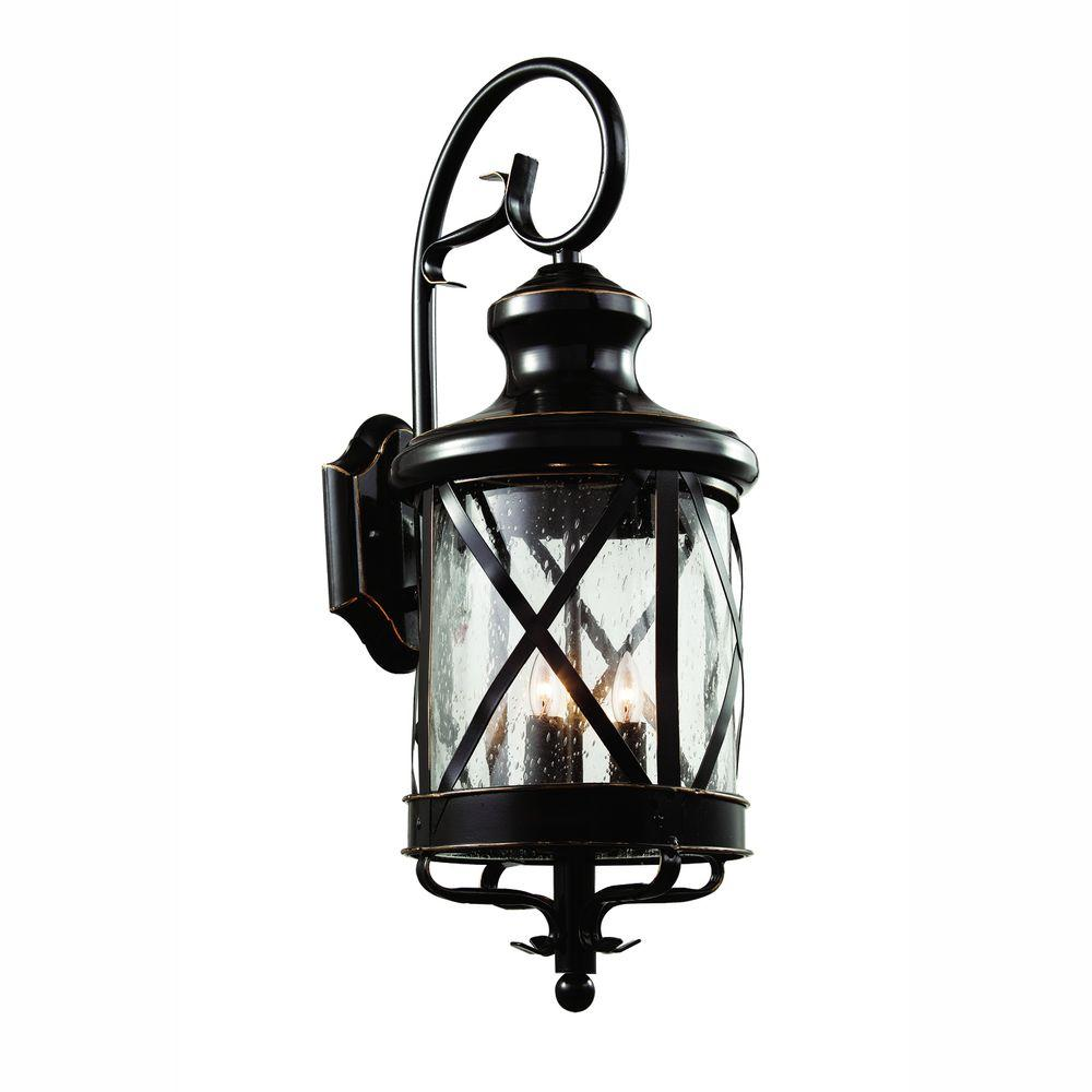 Bel Air Lighting Carriage House 4-Light Outdoor Oiled Bronze Coach Lantern Sconce with Seeded Glass