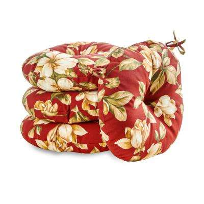 Roma Floral 18 in. Round Outdoor Seat Cushion (4-Pack)