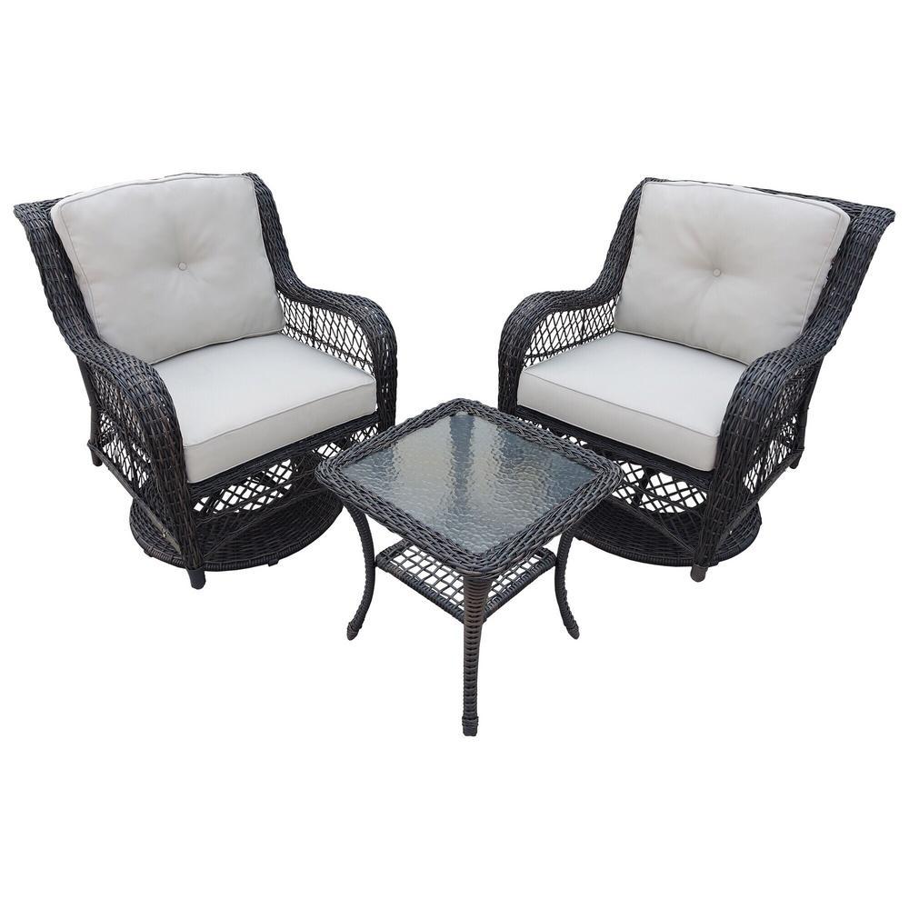 3-Piece Wicker Swivel Patio Conversation Set with Cushions - Dark Brown