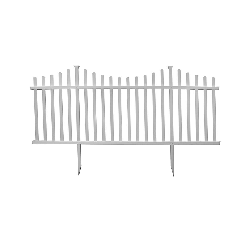 ZippityOutdoorProducts Zippity Outdoor Products 42 in. H x 92 in. W Manchester Semi-Permanent Vinyl Fence Panel Kit (2-Pack), white vinyl