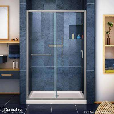 Infinity-Z 36 in. x 48 in. Semi-Frameless Sliding Shower Door in Brushed Nickel with Center Drain Shower Base in Biscuit
