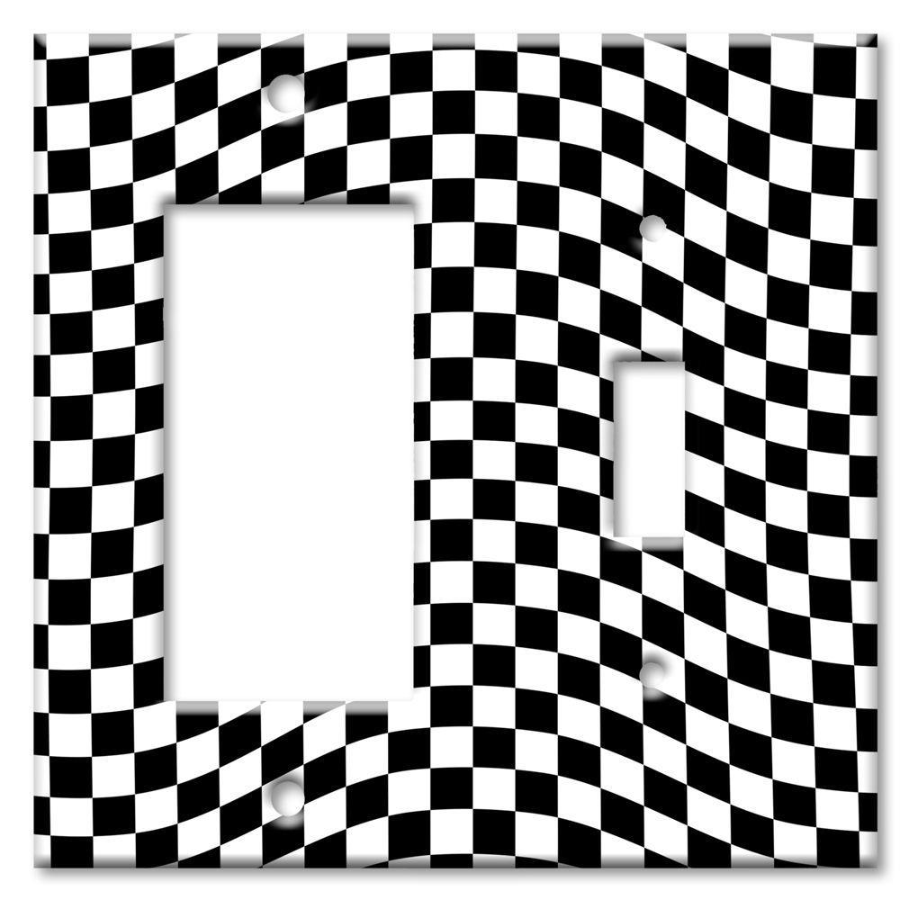 Art Plates Checkered Racing Flag Rocker/Switch Combo Wall Plate