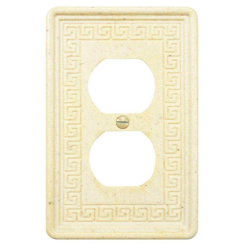 Merola Tile Contempo Greek Key 1 Duplex Outlet Plate - Light Travertine