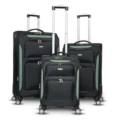 Glasgow 3-Piece Black and Green Softside Upright Spinner Luggage Set