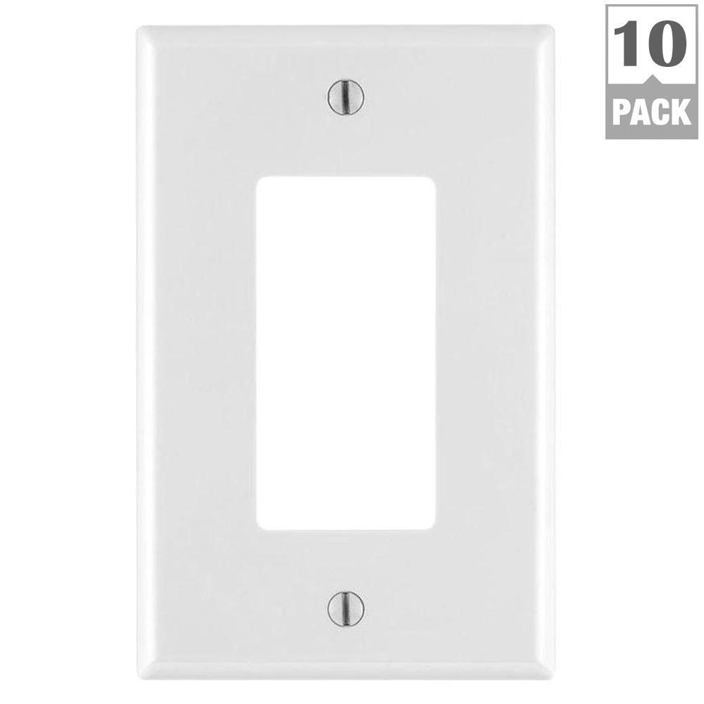 Leviton Decora 1-Gang Midway Nylon Wall Plate, White (10-Pack)