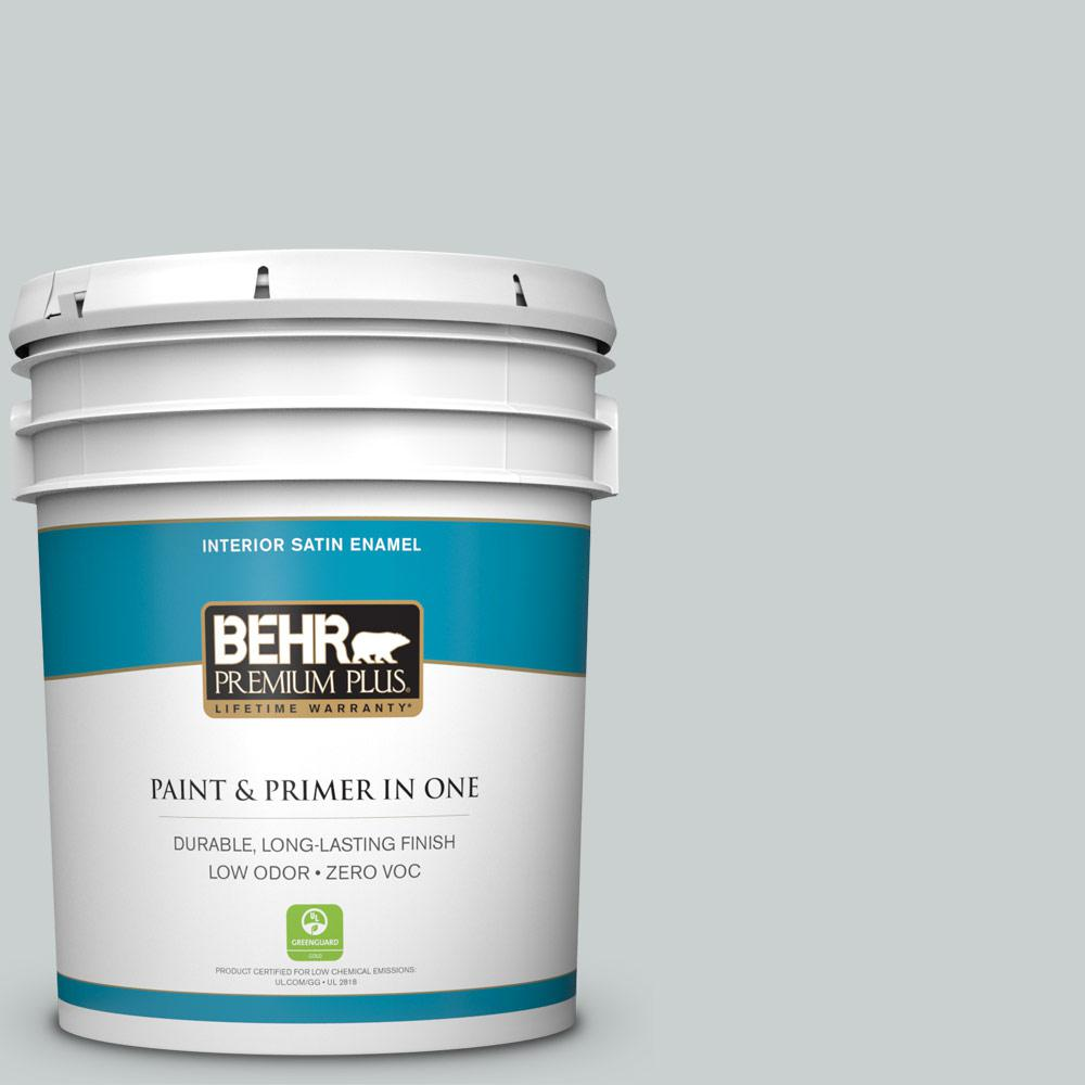 BEHR Premium Plus 5 gal. #PPF-17 Foggy Morn Satin Enamel Zero VOC Interior Paint and Primer in One