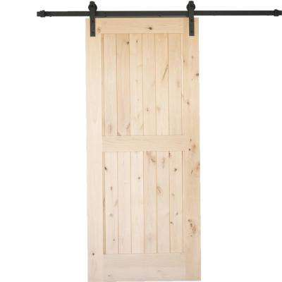 36 in. x 84 in. Krosswood Rustic 2 Panel Unfinished Knotty Alder Interior Barn Door Slab
