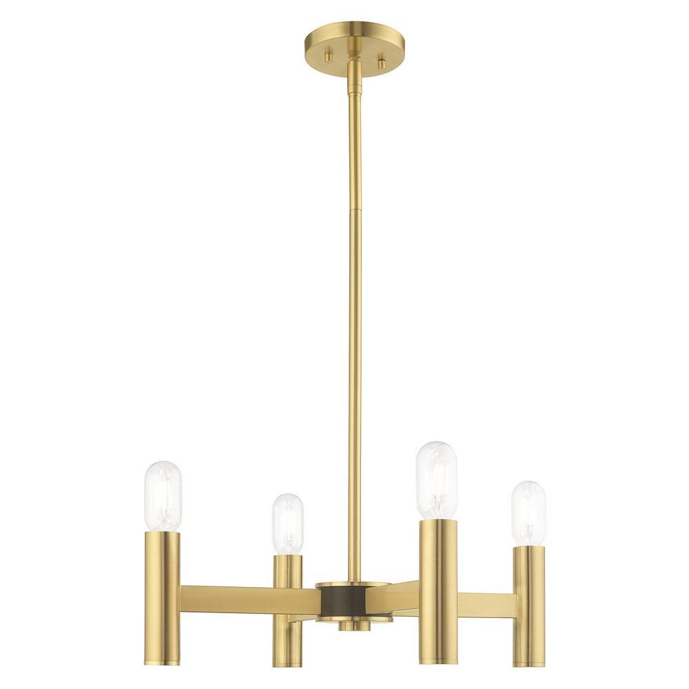 Livex Lighting Copenhagen 4-Light Satin Brass Mini Chandelier