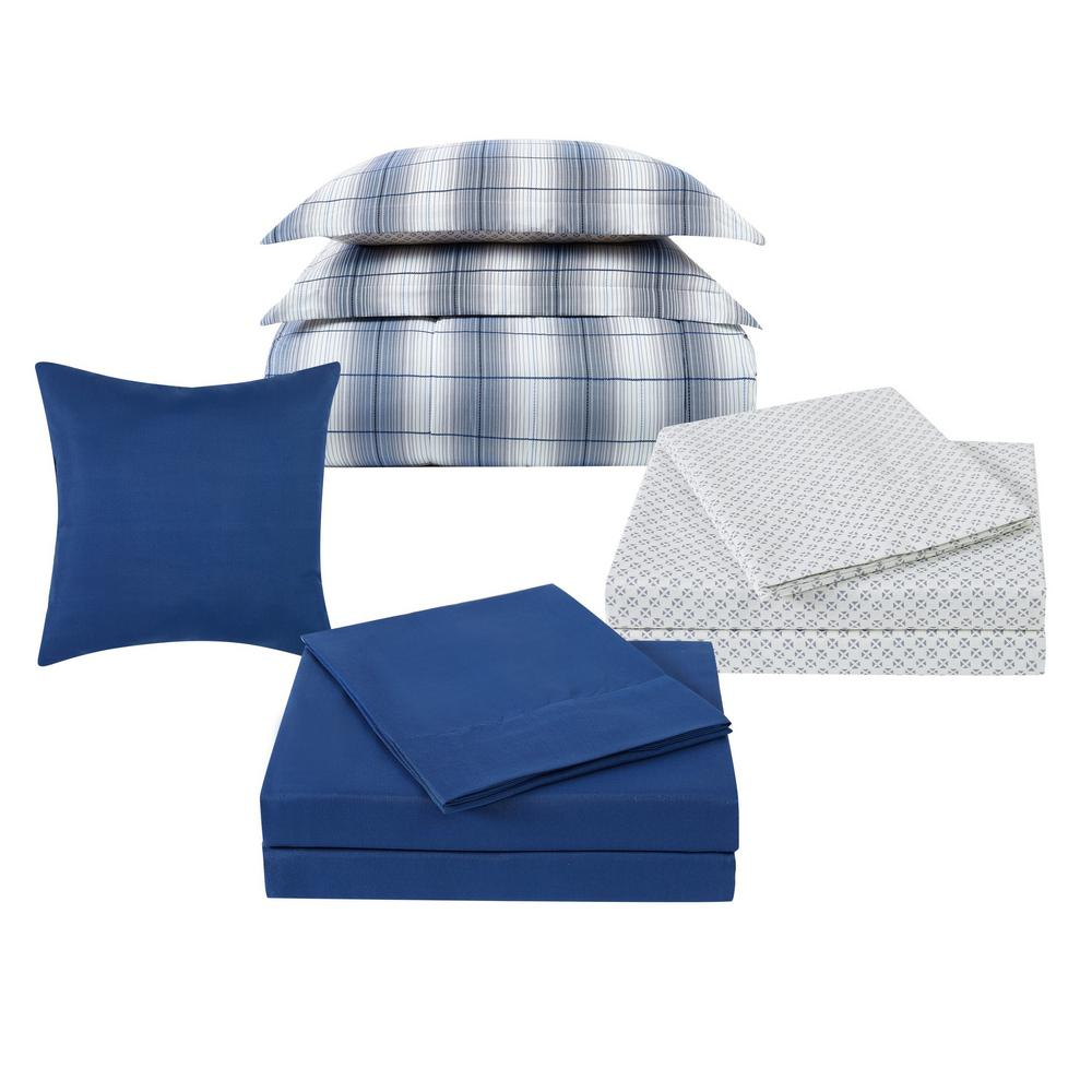 Grayson 12-Piece Grey and Blue Polyester Queen Bed in a Bag Set