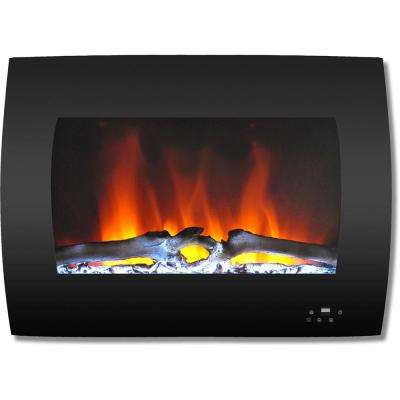 26 in. Curved Wall-Mount Electric Fireplace in Black with Multi-Color Flames and Log Display