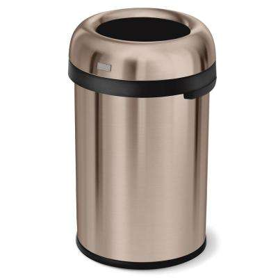 115-Liter/31 Gal Rose Gold Heavy-Gauge Stainless Steel Bullet Round Open Top Trash Can