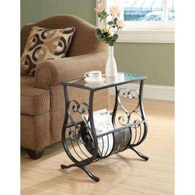 Satin Black Glass Top End Table