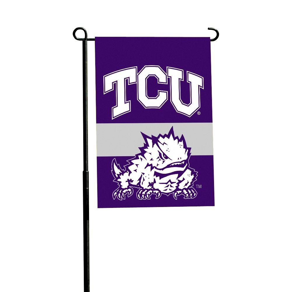 BSI Products NCAA Texas Christian Horned Frogs 1 ft. x 1.5 ft. Collegiate 2-Sided Garden Flag with Pole #11213