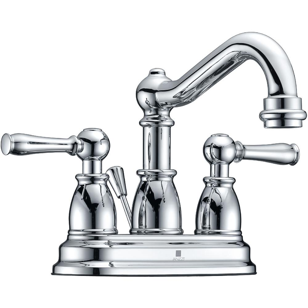 ANZZI Edge Series 4 in. Centerset 2-Handle Mid-Arc Bathroom Faucet in Polished Chrome