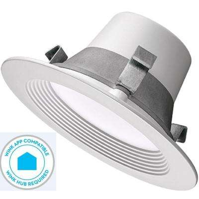 4 in. White Integrated LED Smart Color Tunable (2700k Warm White-5000k Daylight) Recessed Trim WINK Compatible Dimmable