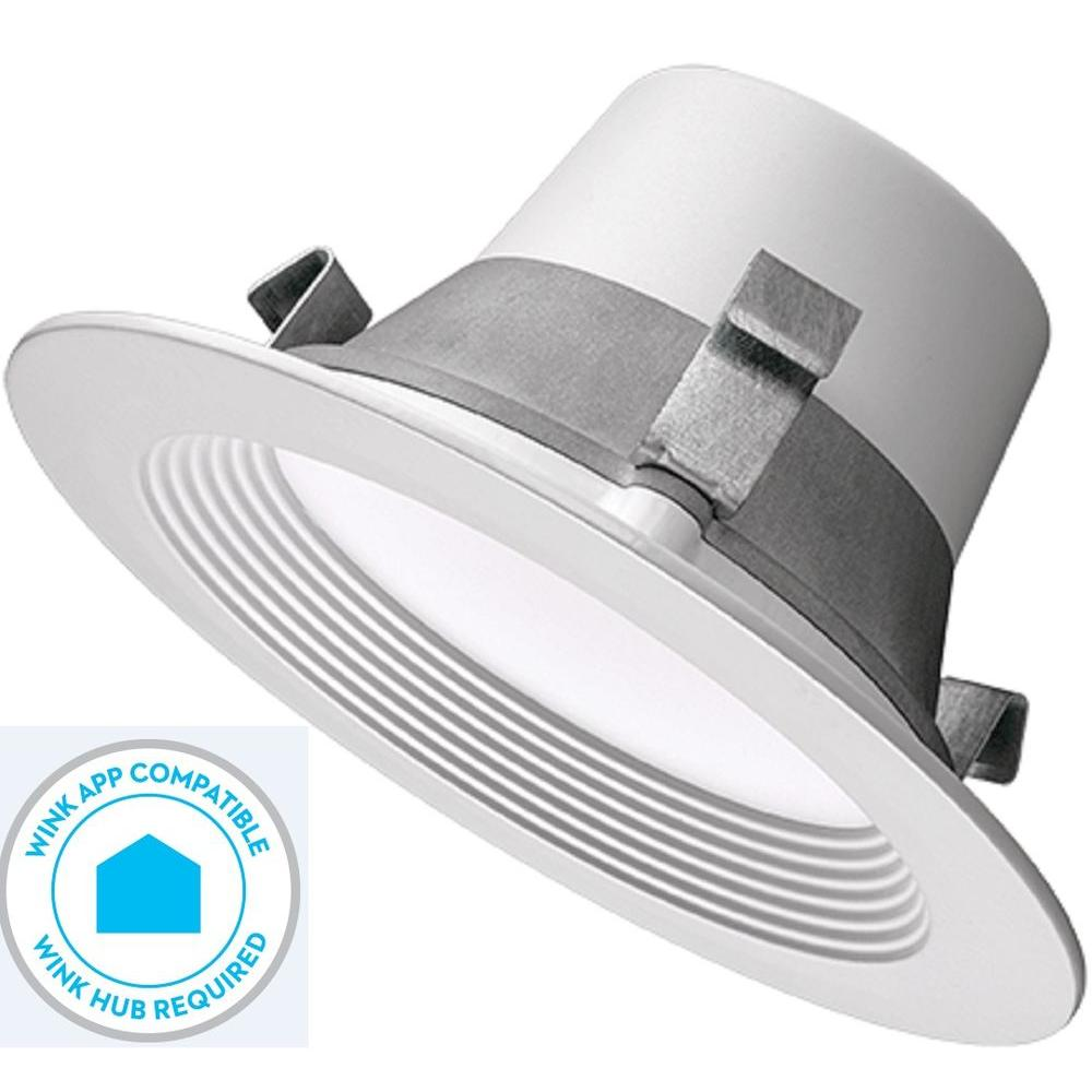 Commercial Electric Wink Compatible and Dimmable 4 in. White LED Smart Color Tunable (2700K Warm White to 5000K Daylight) Recessed Trim-53170162 - The Home ...  sc 1 st  Home Depot & Commercial Electric Wink Compatible and Dimmable 4 in. White LED ... azcodes.com