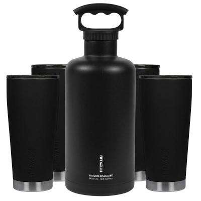 Premium Outdoor Insulated Beer Growler Bundle, Black