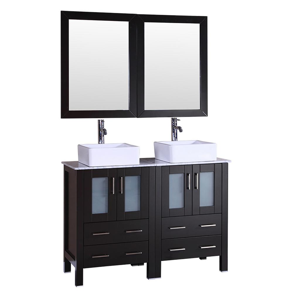 Bosconi 48 in. W Double Bath Vanity in Espresso with  Marble Vanity Top with White Basin and Mirror