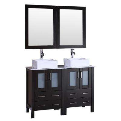 48 in. W Double Bath Vanity in Espresso with  Marble Vanity Top with White Basin and Mirror
