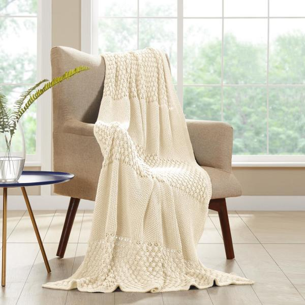 Antique White Cotton Cable Knit Throw
