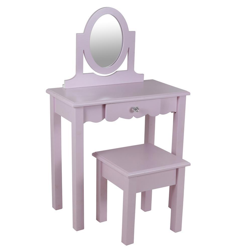 Vivian 2 Piece Pink Vanity Set