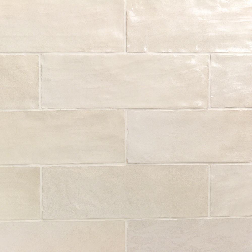 Amagansett Cream 2 in. x 8 in. 9mm Satin Ceramic Wall Tile (10.76 sq. ft. / box)