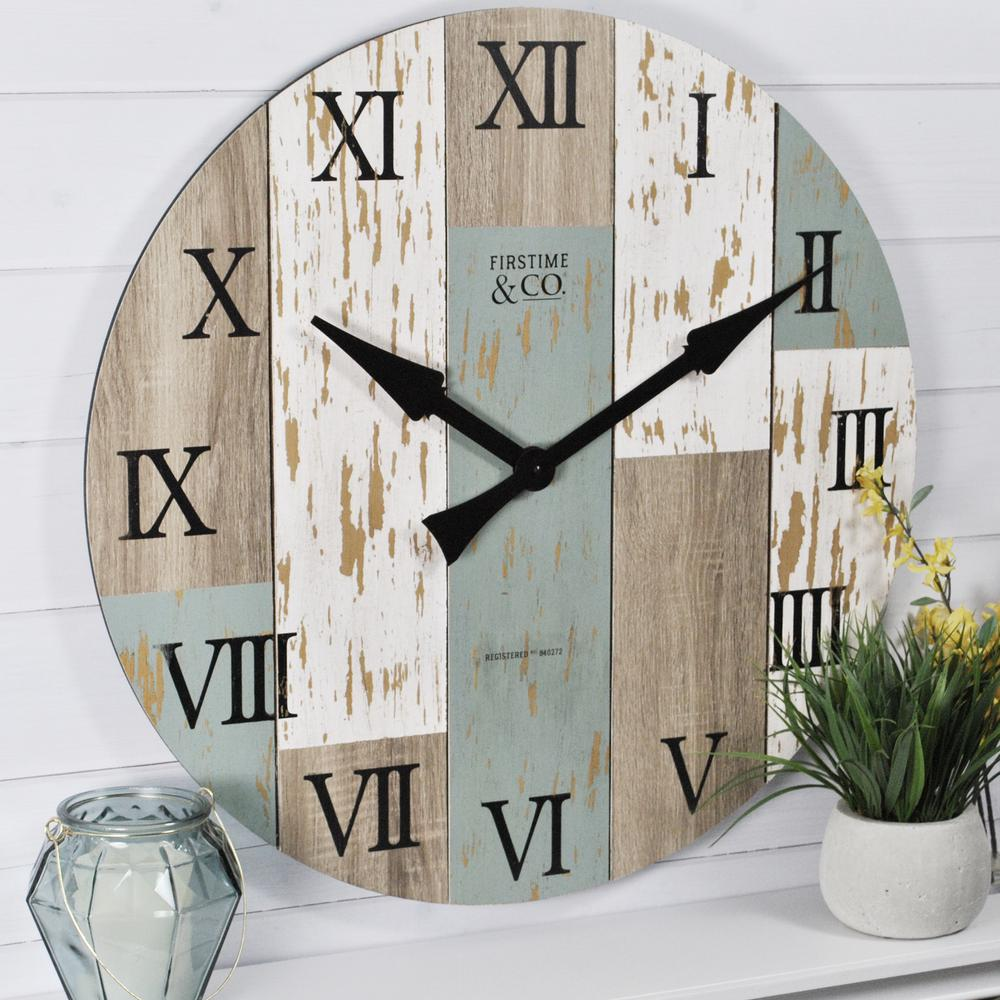 27 in. Multi-Color Oversized Timberworks Wall Clock