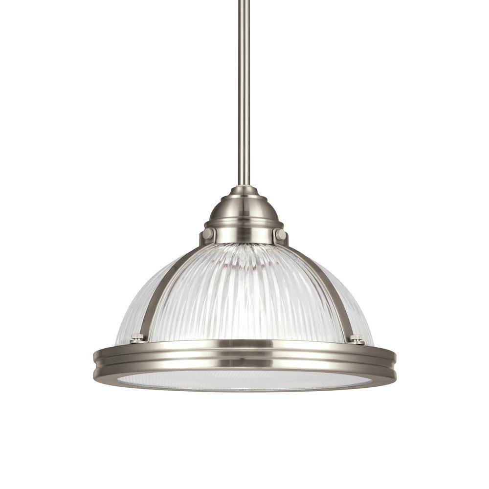Pratt Street Prismatic 1-Light Brushed Nickel Pendant with LED Bulb