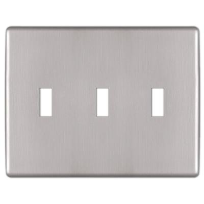 Kentley 3 Gang Toggle Steel Wall Plate - Brushed Nickel