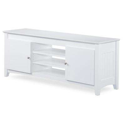 Nantucket 24 in. x 60 in. White TV Table with Adjustable Shelves