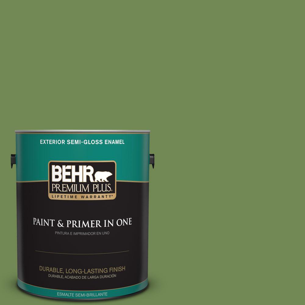 BEHR Premium Plus 1-gal. #M370-6 Snip of Parsley Semi-Gloss Enamel Exterior Paint