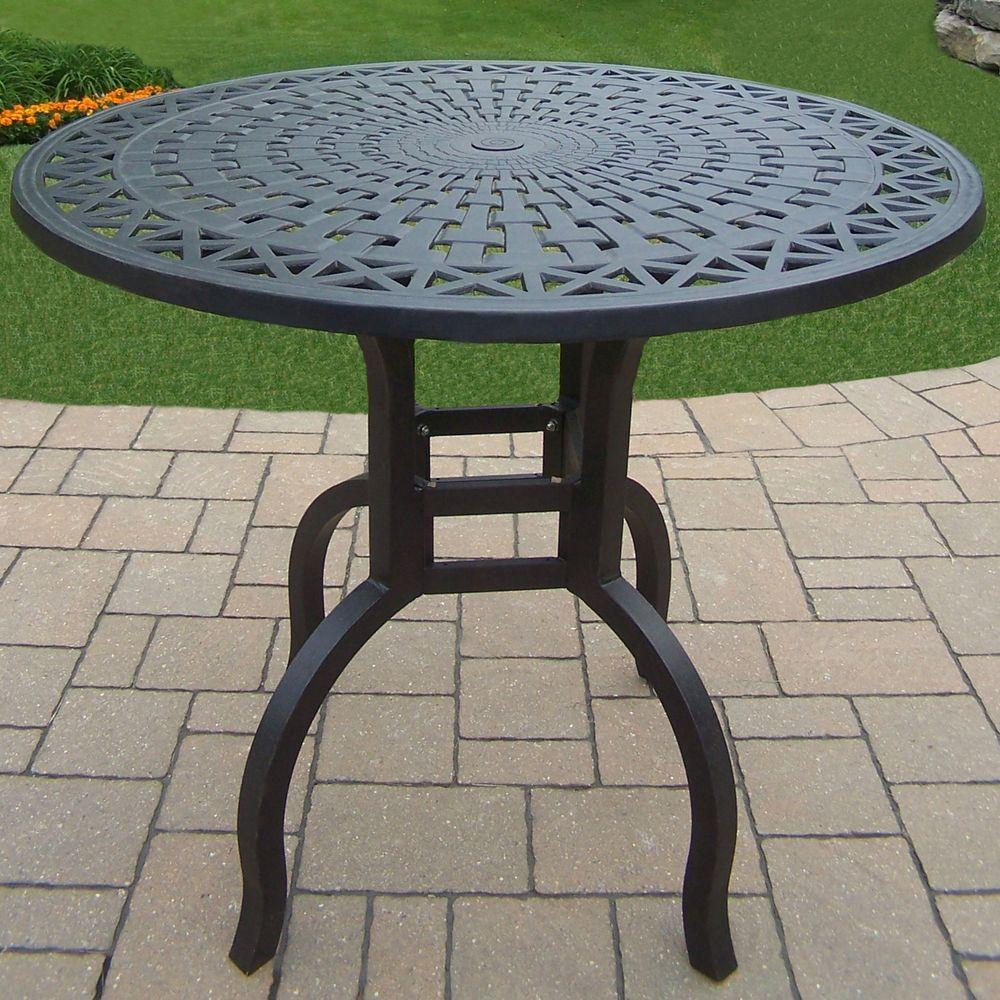 Oakland Living Hampton Aluminum Round Patio Bar Height Dining Table Hd7204 Bt42 Ab The Home Depot